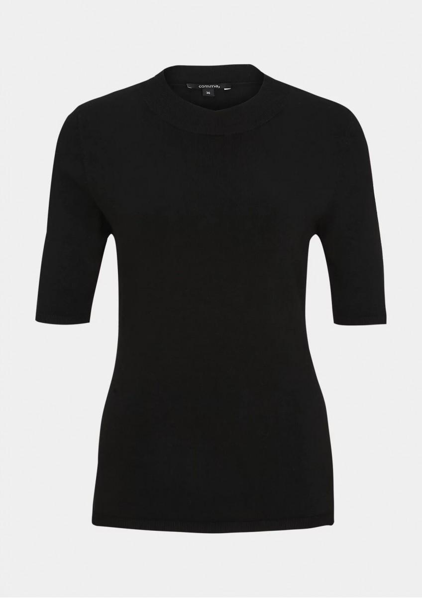 Женский джемпер с короткими рукавами черный