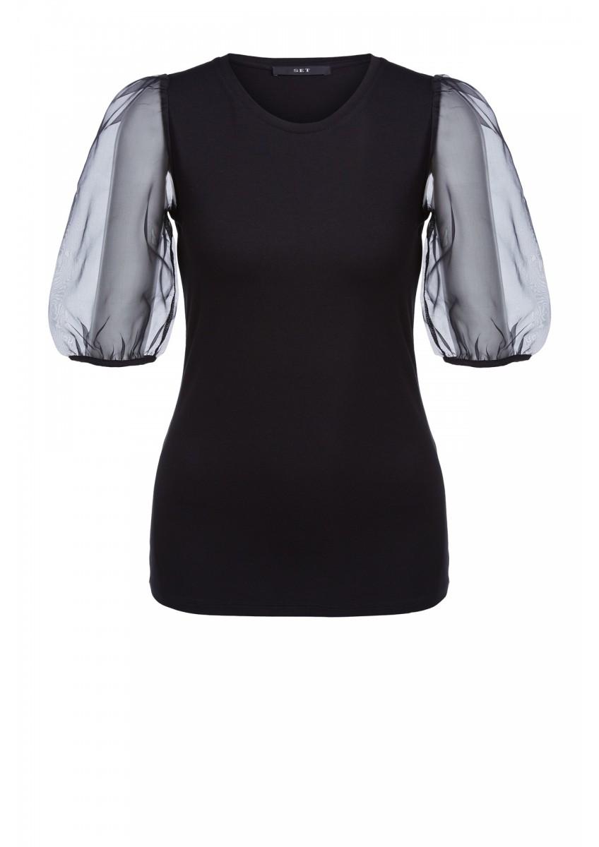 Женская футболка с прозрачными рукавами