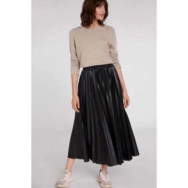 Плиссированная юбка из эко кожи